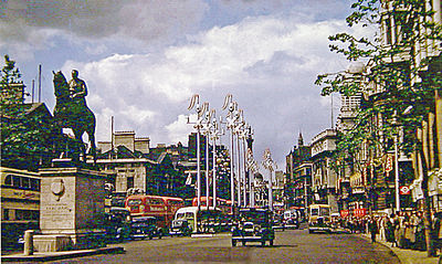 Whitehall, looking north in 1953, with the Earl Haig Memorial in the middle of the carriageway.