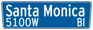 City of Los Angeles street sign for Santa Moni...