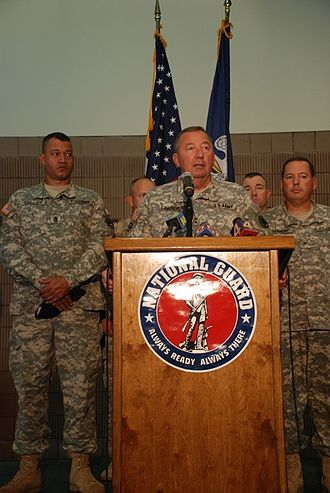 Hurricane Gustav - Maj. Gen. Bennett C. Landreneau (center), adjutant general of the Louisiana Army National Guard, speaks to reporters about the Guard's preparation for Gustav in Louisiana on August 28.