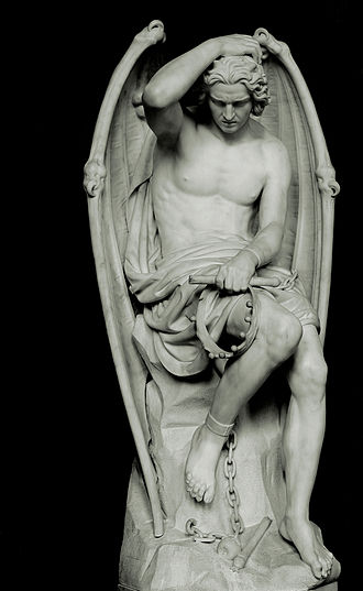 Devil in Christianity - Lucifer (Le génie du mal) by Guillaume Geefs (Cathedral of St. Paul, Liège, Belgium)