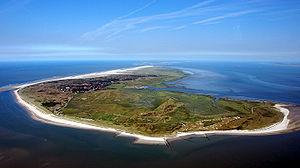Spiekeroog - Aerial view of Spiekeroog from the west