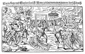 Peter Stumpp - Composite woodcut print by Lukas Mayer of the execution of Peter Stumpp in 1589 at Bedburg near Cologne.