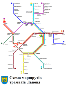 Lviv tram routes map ua.png