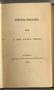Page titre jaunie : LYRICAL BALLADS, WITH A FEW OTHER POEMS. LONDON: PRINTED FOR J. & A. ARCH, GRACECHURCH-STREET. 1798