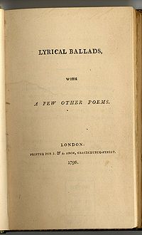 "Yellowed book page saying ""LYRICAL BALLADS, WITH A FEW OTHER POEMS. LONDON: PRINTED FOR J. & A. ARCH, GRACECHURCH-STREET. 1798."""