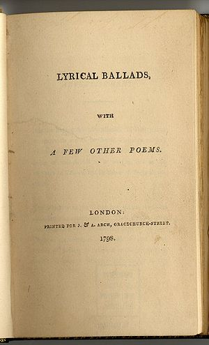1798 in poetry - First edition title page of Wordsworth's and Coleridge's Lyrical Ballads