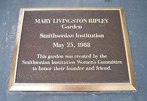Sidney Dillon Ripley - Plaque dedicating the Mary Livingstone Ripley Garden