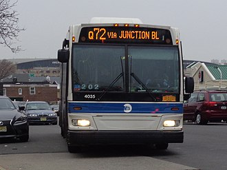 Q72 (New York City bus) - A Rego Park-bound Q72 just south of LaGuardia Airport in East Elmhurst