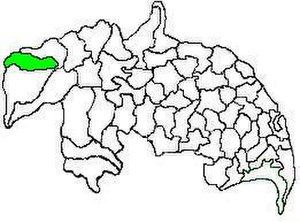 Macherla mandal - Mandal map of Guntur district showing   Macherla mandal (in green)