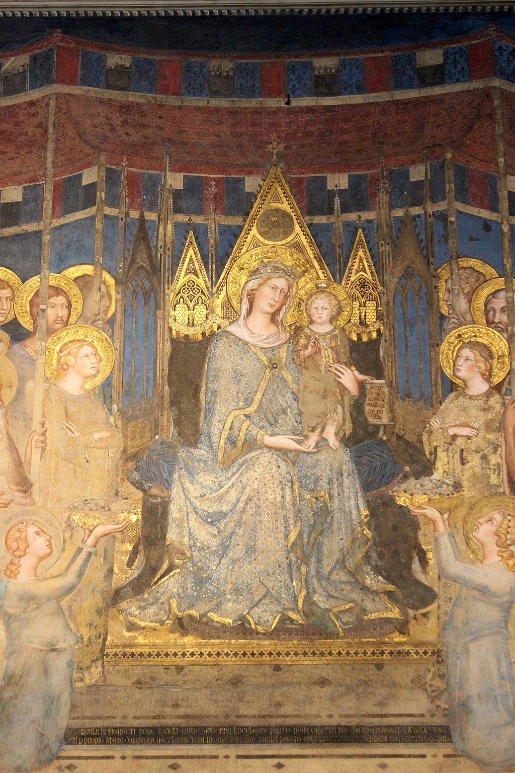 Simone Martini, Maestà (particolare della Madonna in trono), 1316, Sala del Mappamondo, Palazzo Pubblico, Siena