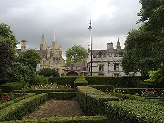 University of Oxford Botanic Garden - Magdalen College as viewed from the rose gardens on the south side of the High Street, at the front of the Oxford Botanic Garden.