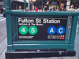 Fulton Center - Maiden Lane subway station entrance at Fulton Street, before renovation. Each entrance went to just one platform at the time, as pictured.