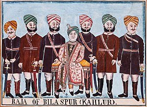 Kahlur - Raja Bijai Chand with Rajput chiefs.