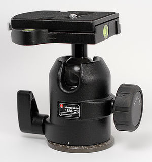 Tripod head - A ball head, showing panoramic rotation lock lever, and ball lock knob.