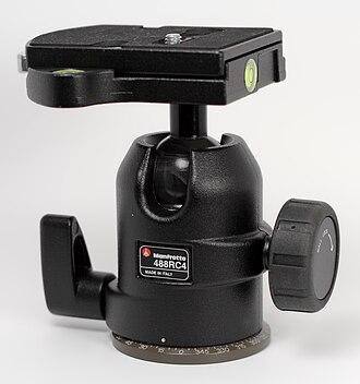 Tripod head - A ball head, showing panoramic rotation lock lever, and ball lock knob.