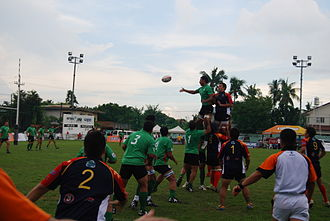 Sports in the Philippines - A rugby union match between the national teams of the Philippines vs Iran (A lineout)