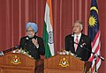 Manmohan Singh and the Prime Minister of Malaysia, Dato' Sri Mohd Najib Bin Tun Abdul Razak at the Joint Press Conference after the signing ceremony, at Putrajaya, the Prime Minister Office, in Malaysia on October 27, 2010.jpg
