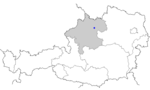 Map of Austria, position of Linz highlighted