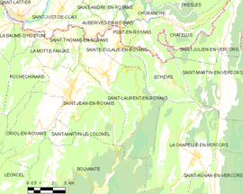 Mapa obce Saint-Laurent-en-Royans