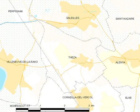 Map of Theza and its surrounding communes Map commune FR insee code 66208.png