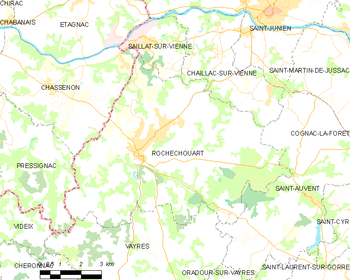 Map of the commune de Rochechouart
