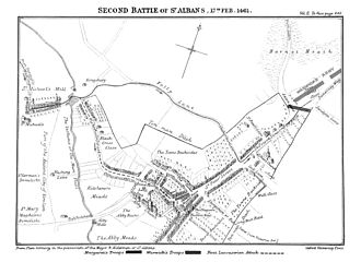 John Neville, 1st Marquess of Montagu - Map for Second Battle of St Alban's by Ramsay.