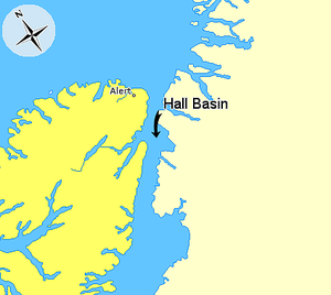 Hall Basin - Image: Map indicating Hall Basin, Nunavut, Canada