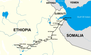 Transport in Djibouti - The new Addis Ababa-Djibouti Railway line.