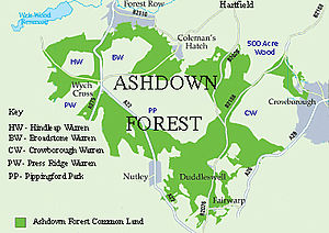 Ashdown Forest - Map of Ashdown Forest, showing, in green, the distribution of its common land. The major private enclosures are shown with abbreviated blue text.