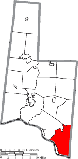 Location of Huntington Township in Brown County