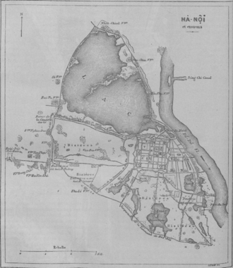 Imperial Citadel of Thăng Long -  1873 Map of Hanoi with the discernible quadrilateral outline of the Imperial City