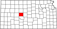 Map of Kansas highlighting Rush County