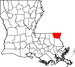 State map highlighting Washington Parish