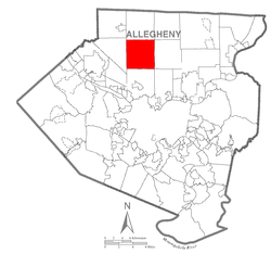 Map of Allegheny County, Pennsylvania highlighting McCandless Township