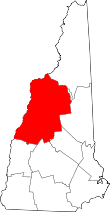 Map of New Hampshire highlighting Grafton County