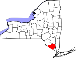 map of New York highlighting Orange County