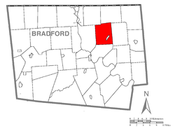 Map of Bradford County with Rome Township highlighted