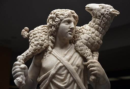 Marble statue of The Good Shepherd carrying a lamb, c. 300-350, from the Catacombs of Domitilla, Vatican Museums (31302117574)