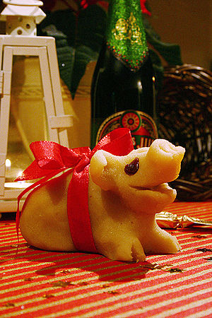 "Marzipan pig - A homemade marzipan pig, an example of a typical ""almond present"""