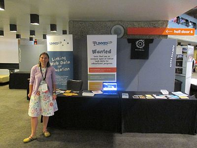 Marieke Guy at LinkedUp stand at Wikimania 2014 Community Village.jpg