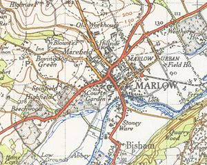 Marlow, Buckinghamshire - A map of Marlow from 1945
