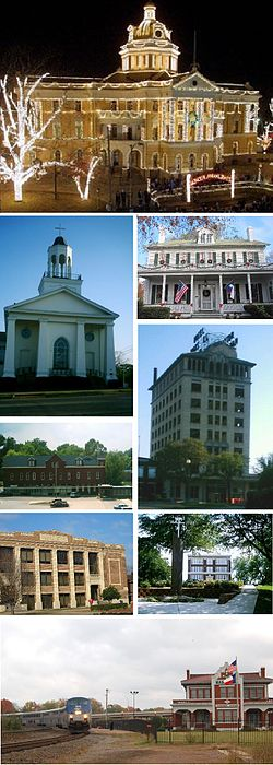 Montage of historic buildings in Marshall