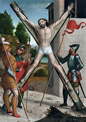 Andrew the Apostle - Crucifixion of Saint Andrew, by Juan Correa de Vivar (1540–1545)