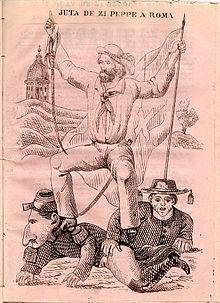 Illustrazione satirica che prefigura l'arrivo di Garibaldi a Roma, Garibaldi è raffigurato in piedi sopra Napoleone III e un cardinale, alle spalle sono visibili la cupola di san Pietro e probabilmente il Vesuvio (Rivista Masaniello, n.3 del 15 febbraio 1862, pubblicata a Napoli).