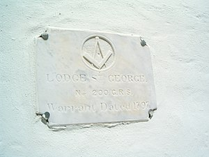 Masonic lodge - Plaque of Lodge St. George, the 1797 Masonic Lodge which has been housed in Bermuda's former State House since 1815