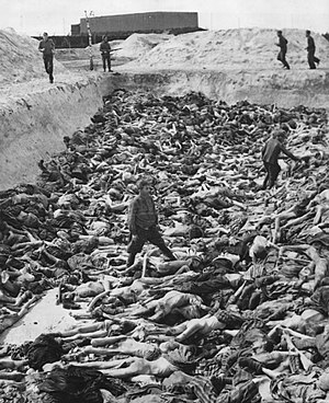 Dr. Fritz Klein stands amongst corpses in Mass...