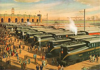 John F. Kennedy Stadium (Philadelphia) - Pennsylvania Railroad trains lined up at a temporary station outside the stadium after the 1955 Army-Navy game