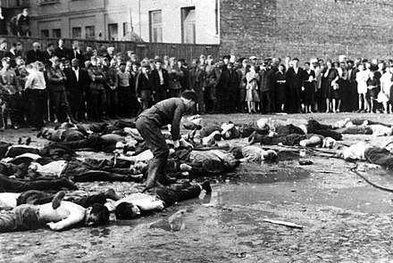 Kaunas pogrom in German-occupied Lithuania, June 1941 Massacre of Jews in Lietukis garage.jpeg