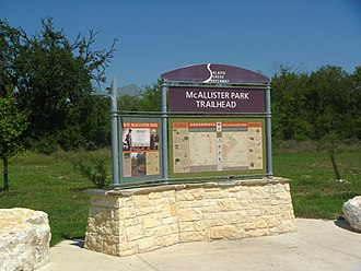 Salado Creek - Image: Mc Allister Park trailhead sign