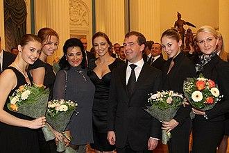 Irina Viner-Usmanova - (L-R) Viner with rhythmic gymnasts Yana Lukonina, Daria Dmitrieva, Evgenia Kanaeva, former President Dmitri Medvedev, Daria Kondakova and RG coach Anna Shumilova